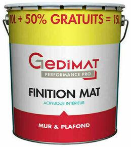 Peinture chantier GEDIMAT acrylique pot de 10L + 50% gratuit ton mat GEDIMAT PERFORMANCE PRO - Gedimat.fr