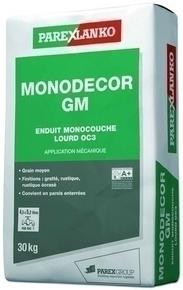 Enduit monocouche lourd grain moyen MONODECOR GM sac de 30kg coloris R118 - Gedimat.fr