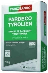 Enduit de parement traditionnel PARDECO TYROLIEN sac de 25kg coloris O80 terre orange - Gedimat.fr