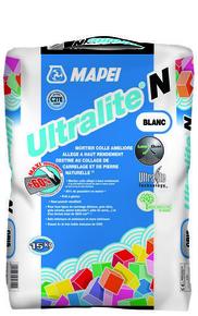 Mortier colle allégé amélioré à haut rendement et forte réduction de poussières ULTRALITE N MAPEI gris – sac de 15kg – classe C2E - Gedimat.fr