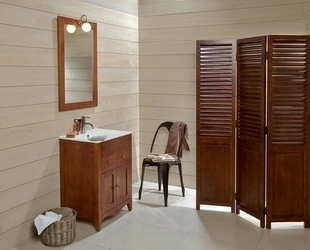 Meuble à poser + plan + miroir CHARME pin haut.80cm larg.45cm long.60cm lasuré blanc - Gedimat.fr