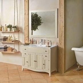 Meuble � poser + plan + miroir CHARME pin haut.80cm larg.45cm long.100cm lasur� blanc - GEDIMAT - Mat�riaux de construction - Bricolage - D�coration