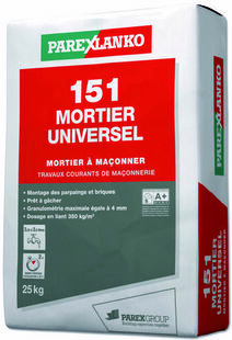 Mortier traditionnel en poudre 151 MORTIER UNIVERSEL sac 25kg - Gedimat.fr
