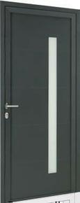 Porte d'entrée Aluminium GEOD avec isolation totale de 160mm gauche poussant haut.2,15m larg.90cm laqué gris - Gedimat.fr