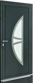 Porte d'entrée Aluminium KANSAS avec isolation totale de 160 mm gauche poussant haut.2,15m larg.90cm laqué gris - Gedimat.fr