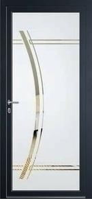 Porte d'entrée Aluminium KOYOA avec isolation totale de 140mm droite poussant haut.2,15m larg.90cm laqué gris - Gedimat.fr