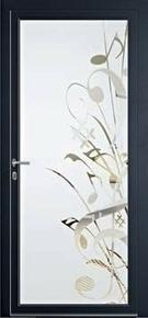 Porte d'entrée Aluminium MUSIA avec isolation totale de 140mm gauche poussant haut.2,15m larg.90cm laqué gris - Gedimat.fr