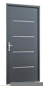 Porte d'entrée SAORI avec isolation totale de 100 mm en acier droite poussant haut.2,15m larg.90cm laqué gris - Gedimat.fr
