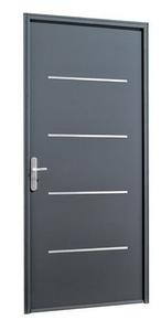 Porte d'entrée SAORI en acier laqué gauche poussant haut.2,15m larg.90cm gris - Gedimat.fr