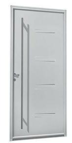 Porte d'entrée NAGANO avec isolation totale de 140 mm en acier gauche poussant haut.2,15m larg.90cm laqué blanc - Gedimat.fr
