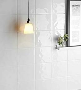Carrelage pour mur en faïence dim.20x20cm blanche brillante bosselée - Gedimat.fr