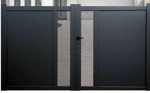 portail battant georgie en aluminium haut 1 80m piliers 3 56m gris. Black Bedroom Furniture Sets. Home Design Ideas