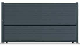 Portail coulissant LACAUNE en aluminium haut.1,80m larg.entre piliers 4,06m décor lames horizontales larges de 200mm profil 100x54 motorisable coloris gris - Gedimat.fr