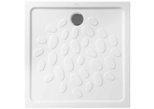 Receveur carré à poser ou à encastrer OCEAN en céramique haut.4cm larg.80cm long.80cm blanc - Gedimat.fr