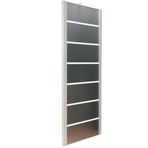 Paroi fixe MARINE haut.195cm long.80cm profilés aluminium laqué epoxy blanc verre sérigraphié - Gedimat.fr