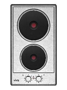 Domino 2 plaques électriques VIVA 30cm acier-inox - Gedimat.fr