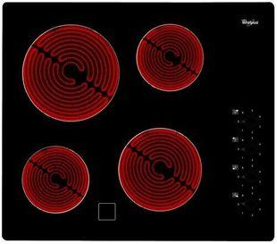 Plaque de cuisson vitrocéramique 4 zones radians WHIRLPOOL 60 cm coloris noir - Gedimat.fr
