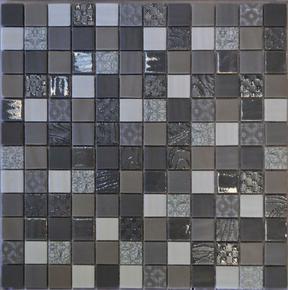 Emaux de verre de 2,5x2,5cm pour mur et piscine GALAXY GREY sur trame de 31,1x31,1cm coloris grey - Gedimat.fr