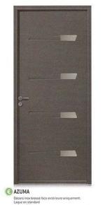 Porte d'entrée AZUMA avec isolation totale de 120 mm en acier droite poussant haut.2,15m larg.90cm laqué gris - Gedimat.fr