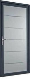 Porte d'entrée YOGA en aluminium laqué gauche poussant haut.2,15m larg.90cm - Gedimat.fr