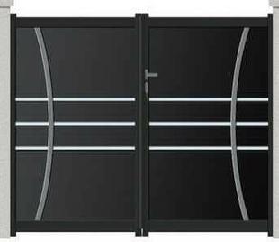 portail battant kent en aluminium haut 1 40m piliers 3 57m gris. Black Bedroom Furniture Sets. Home Design Ideas