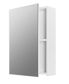 Armoire de toilette OURAL en panneau 1 porte miroir haut.60cm larg.17cm long.40cm gris blanc brillant - Gedimat.fr