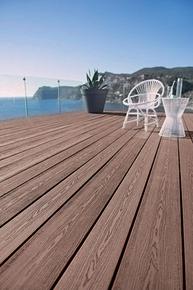 Lame de terrasse Composite FOREXIA ELEGANCE structurée veinée bois Ep.23 mm Larg.138 mm Long.4 m brun exotique - Gedimat.fr