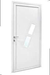 Porte d'entrée LIMA en aluminium droite poussant haut.2,00m larg.90cm laqué blanc - Gedimat.fr