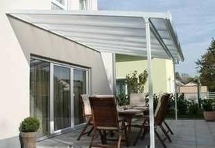 Auvent Pergola Profils aluminium laqu� blanc larg.3,00m long.5,40m - GEDIMAT - Mat�riaux de construction - Bricolage - D�coration