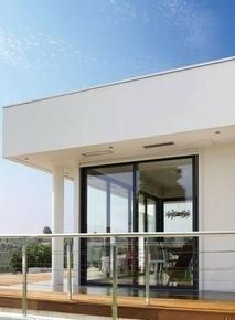 Coulissant THEO Aluminium Blanc 9010 dormant de 120 mm haut.2,15m larg.2,40m - Gedimat.fr