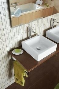 Vasque à poser ELEONORE porcelaine long.40cm larg.40cm haut.12,5cm blanc - Gedimat.fr