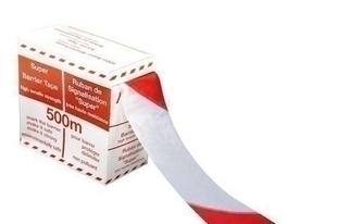 Ruban de chantier rouge et blanc larg.65mm long.500m en dévidoir - Gedimat.fr