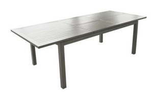 Table aluminium trieste 180/240cm gris brush - Gedimat.fr