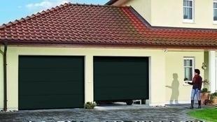 Porte de garage sectionnelle monobloc prémontée Rainures larges haut.2,125m larg.2,375m Gris - Gedimat.fr