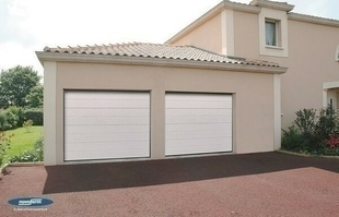 Porte de garage sectionnelle iso45 nervures satin white - Porte de garage sectionnelle novoferm ...