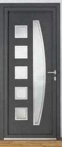 Porte d'entrée NADIA Aluminium laqué avec isolation totale de 120mm gauche poussant haut.2,15m larg.90cm gris - Gedimat.fr