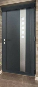 Porte d'entrée LUCILLE Aluminium laqué avec isolation totale de 120mm droite poussant haut.2,15m larg.90cm gris - Gedimat.fr