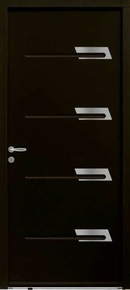 Porte d'entrée SAYA en acier laqué gauche poussant haut.2,15m larg.90cm noir 2100 - Gedimat.fr