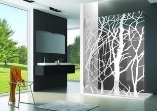 Paroi fixe PUR haut.200cm long.140cm profilés poli brillant sérigraphie arbre - Gedimat.fr