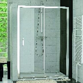 Porte coulissante 2 volets LINEA haut.190cm long.120cm profilés poli brillant verre transparent - Gedimat.fr