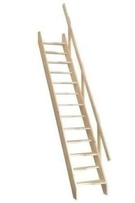 Escalier sapin  en kit TOKYO haut.2,80m avec rampe à lisses - Gedimat.fr