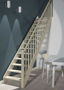 escalier 1 4 tournant droit en kit bergen en sapin haut 2 75m avec rampe. Black Bedroom Furniture Sets. Home Design Ideas