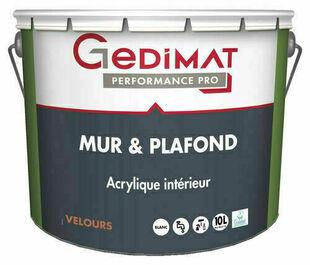 Peinture acrylique mur & plafond velours blanc 10 L GEDIMAT PERFORMANCE PRO - Gedimat.fr