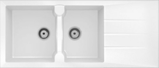 Evier à encastrer 2 bacs + 1 égouttoir VICTORIA en MMC larg.50cm long.116cm blanc - Gedimat.fr