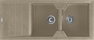 Evier à encastrer 2 bacs + 1 égouttoir VICTORIA en MMC larg.50cm long.116cm taupe - Gedimat.fr