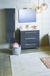 Meuble mont� � poser 3 tiroirs KARMA larg.45cm long.79,7cm haut.81cm gris anthracite - GEDIMAT - Mat�riaux de construction - Bricolage - D�coration