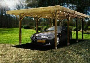 Carport bois confort 2 voitures long.6,06m prof.5,06m haut.2,73m - Gedimat.fr