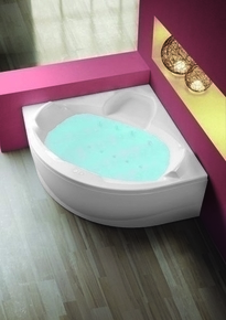 Baignoire balnéo eau/air d'angle sans tablier long.140cm larg.140cm DOLCE blanc - Gedimat.fr