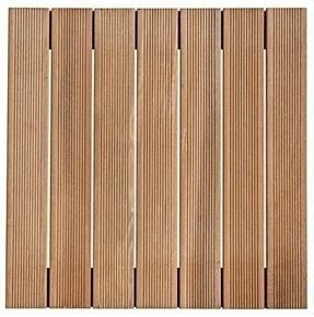 Dalle en bois exotique (Bangkiraï) ép.30mm long.50 larg.50cm  - Gedimat.fr