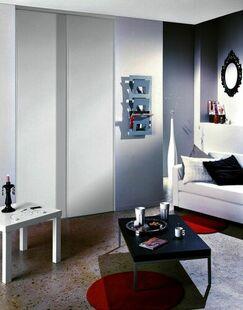 Pack coulissant 2 vantaux mélaminés blanc haut.2,50m larg.1,20m ép.10mm - Gedimat.fr